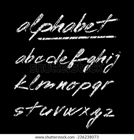 Hand drawn chalk vector alphabet, font, isolated letters on blackboard - stock vector