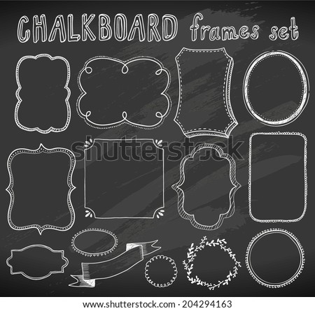hand-drawn chalkboard frames set - stock vector