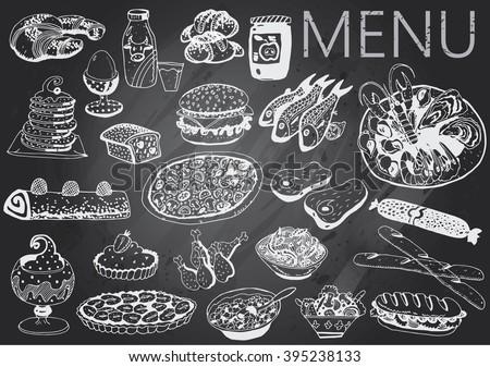 Hand-drawn chalkboard menu - stock vector