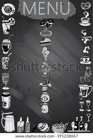 Hand-drawn chalkboard menu with drink and dessert - stock vector