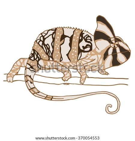Hand drawn chameleon. Vector illustration isolated on white. Monochrome reptile - stock vector