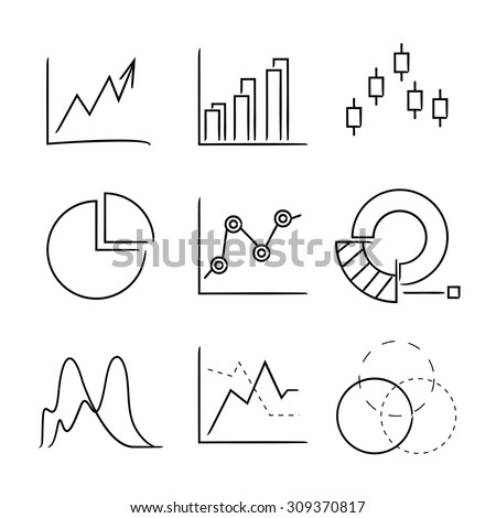 hand drawn chart, graph icons, sketch data icons set - stock vector