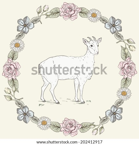 Hand drawn cheerful goat and floral frame with roses and ox-eye daisies. Ornate colorful illustration. Vintage engraving style - stock vector