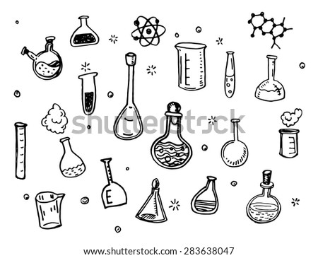 Hand Drawn Chemistry flasks doodles set - stock vector