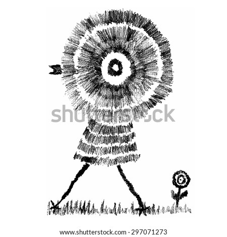 Hand Drawn, Childish Style Abstract Chicken Walking on the Grass with a Flower, Pencil. Vector Illustration - stock vector