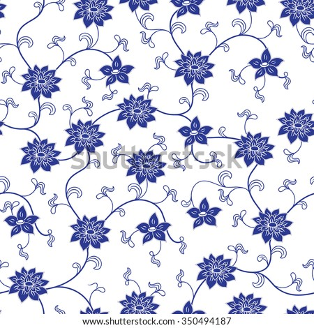 Hand drawn chinese porcelain seamless pattern with flowers - stock vector