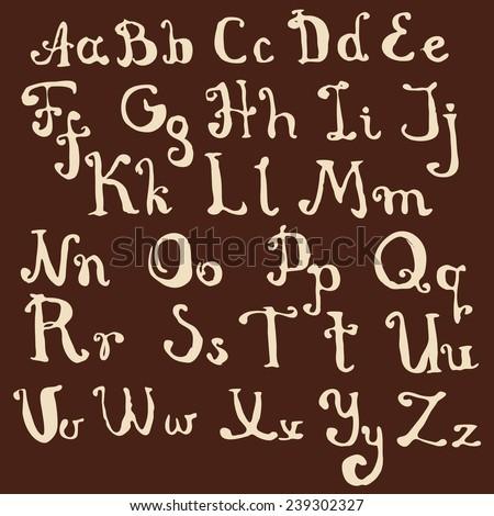 hand drawn chocolate alphabet - stock vector
