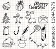 hand drawn Christmas and doodles - stock vector