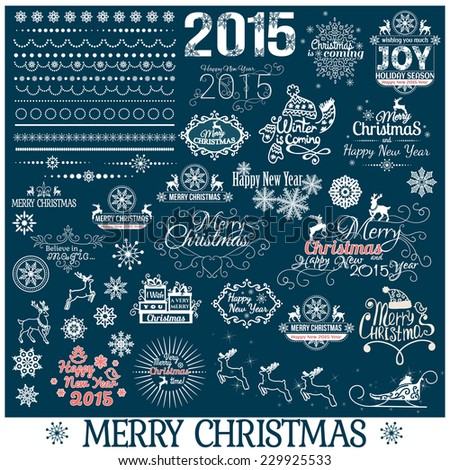 Hand Drawn Christmas And New Year Decoration Set Of Calligraphic And Typographic Design With Labels, Symbols And Icons Elements, vector illustration. - stock vector