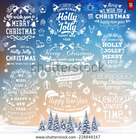 Hand Drawn Christmas And New Year Decoration Set Of Calligraphic And Typographic Designs, Labels and Elements. Symbols And Icons Collection for Holiday Greeting Cards, Banners, Posters and Placards.  - stock vector