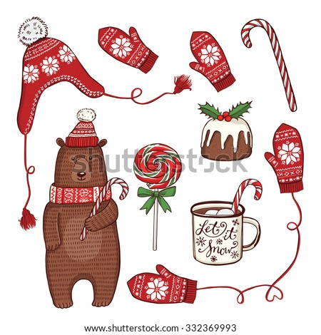 Hand drawn Christmas and New Year set. Funny winter bear in knitted hat and scarf, peppermint lollipops, enamel mug with hot chocolate, traditional Christmas pudding, knitted hat, mittens, snowflakes - stock vector