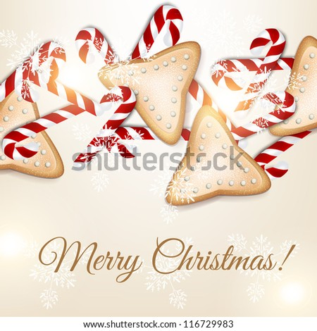 Hand drawn Christmas and New Years postcard with Christmas sweet cane and bow, snowflakes and light effects. - stock vector