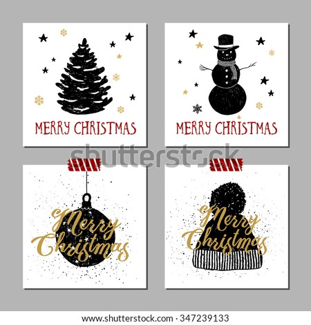 Hand drawn Christmas cards set with textured fir tree, snowman, Christmas tree ball, knitted hat vector illustrations. - stock vector