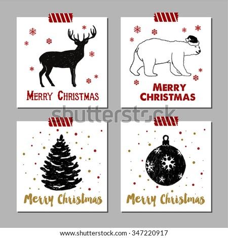 Hand drawn Christmas cards set with textured reindeer polar bear, fir tree, and Christmas tree ball vector illustrations. - stock vector
