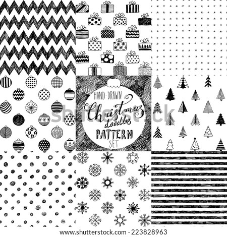 hand-drawn Christmas doodle patterns collection - stock vector