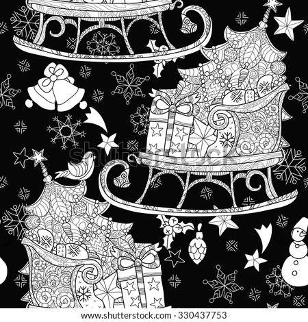 Hand drawn Christmas doodle sketch sledge on squared paper. Sleighs, gift boxes,  Christmas tree. Vector illustration isolated seamless pattern. - stock vector