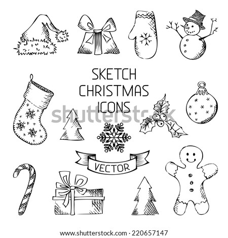 Hand-drawn Christmas icons. Sketch pencil Christmas objects for your design. - stock vector