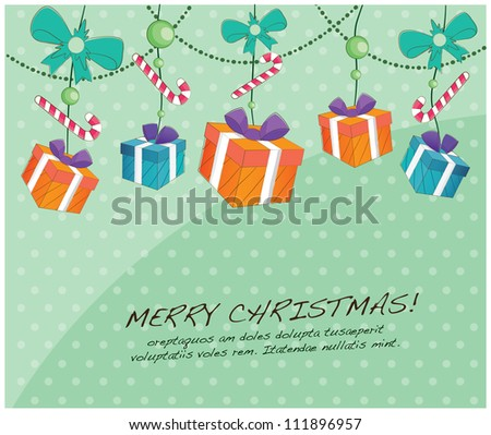 hand drawn christmas layout series(hanging presents) - stock vector