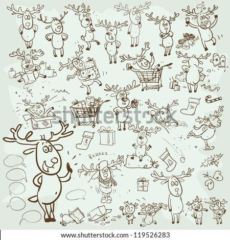 Hand drawn Christmas Reindeer, cartoon characters set, sketch - stock vector