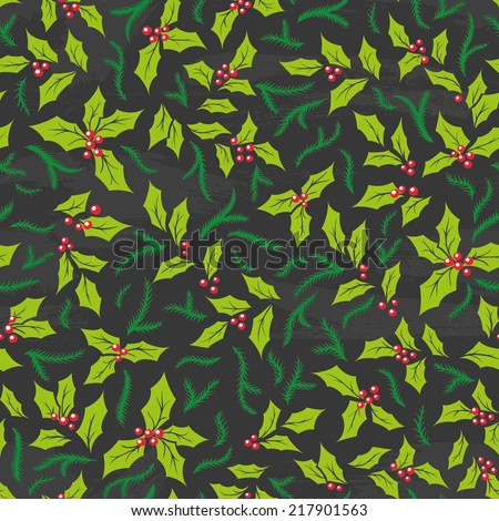 hand-drawn Christmas seamless pattern on chalkboard - stock vector