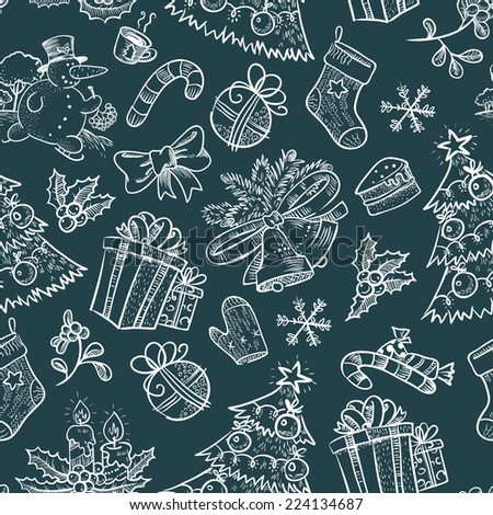 Hand-drawn Christmas seamless with Snowman - stock vector