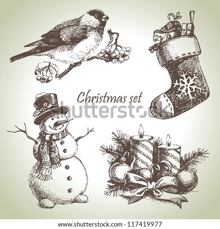 Hand drawn christmas set - stock vector