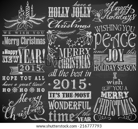 hand drawn Christmas symbols on chalkboard - stock vector