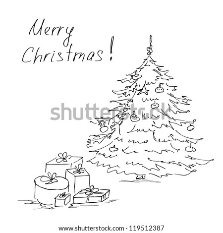Hand drawn Christmas tree and gifts - stock vector
