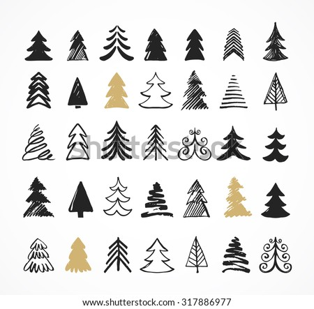 Hand drawn Christmas tree icons. Doodles and sketches - stock vector