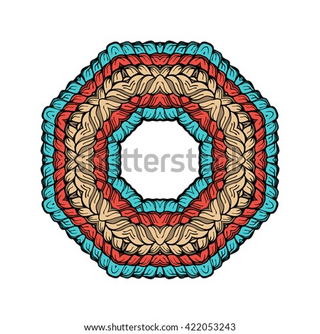 Hand-drawn circle frame pattern with a vector image of interwoven strands of hair or yarn in warm pastel shades of pale, beige, red and blue. Suitable for web design, artwork, prints, invitations. - stock vector