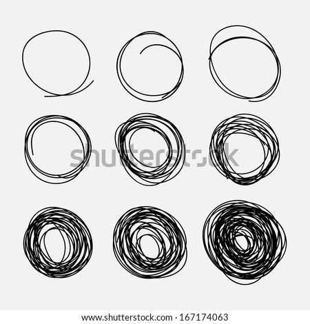 Hand-drawn circles - stock vector