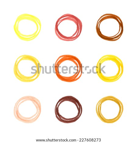 Hand drawn circles. Ethnic style. Natural tones. - stock vector