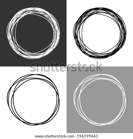 Hand drawn circles, vector design elements  - stock vector