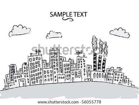 Hand drawn city view - stock vector