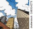 Hand drawn cityscape, vector illustration - stock vector