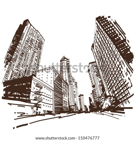 Hand drawn cityscape, vector illustration - stock vector
