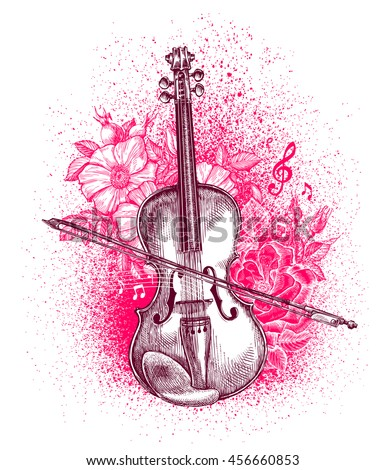 Hand drawn classical violin and bow. Musical instrument. Vector illustration - stock vector