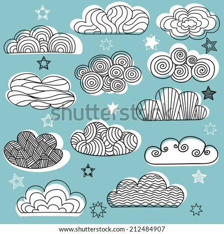 Hand drawn clouds with stars. Set of vector clouds. Design elements. - stock vector