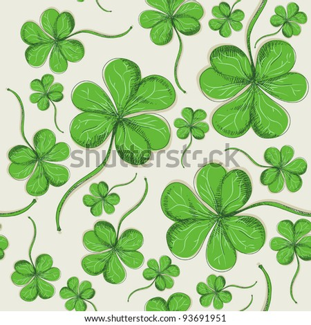 Hand drawn clover (tileable background) - stock vector