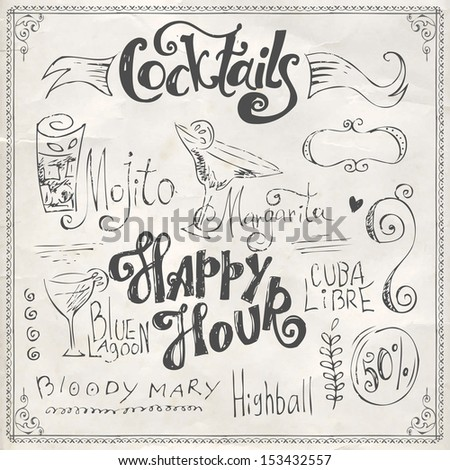 Hand drawn cocktails doodles. - stock vector