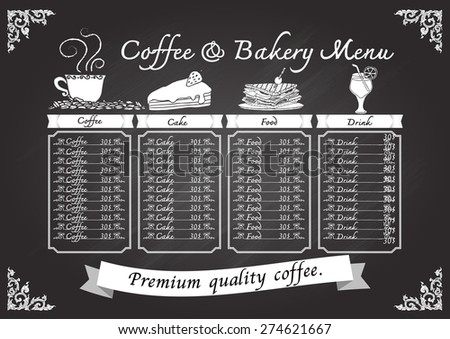 Hand drawn coffee and bakery on chalkboard with Thai art frame. - stock vector