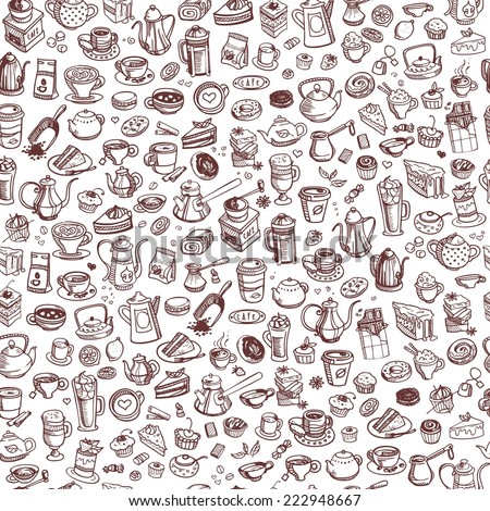 hand drawn coffee and confectionery seamless background - stock vector