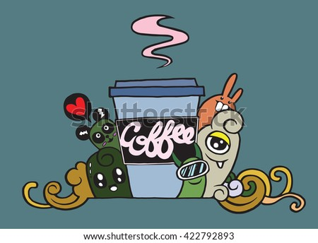 Hand drawn coffee ,cartoon monster and coffee cup,Vector Illustration - stock vector