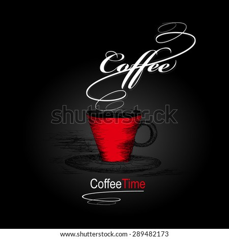 hand drawn coffee cup icon. Vector design illustration. - stock vector