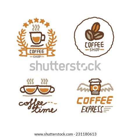 Hand drawn coffee shop logo set - stock vector