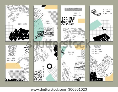 Hand drawn collection of artistic invitations with trendy colors, shapes and textures. Wedding, marriage, bridal, birthday, Valentine's day. Isolated  - stock vector