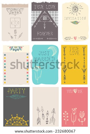 Hand drawn collection of floral cards - invitations for wedding,  birthday, marriage, Valentine's day, color background, vector - stock vector