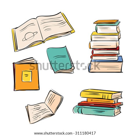 Hand drawn color books set. Opened and closed books isolated on white background.  - stock vector