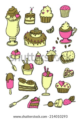 Hand Drawn Color Confectionery Sweet Set - stock vector