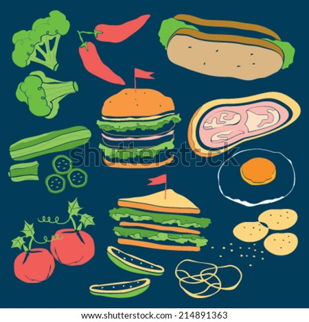 hand-drawn color food on blackboard for burgers - stock vector